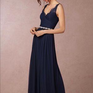 BHLDN Navy Fleur Bridesmaid floor length dress